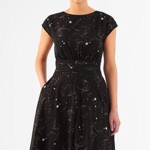 Eshakti Celestial Moon Star Print Fit Flare Dress